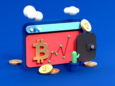 Bitcoin 3d art 3d 3d illustration render c4d 3d modeling 3d artist ux ui icon web designs art