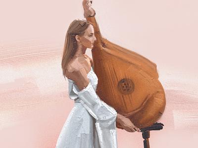 Charming bandurist bandura music vector man illustration gif icon image