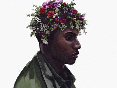 flower guy art illustrator digital man painting picture portrait illustration face image