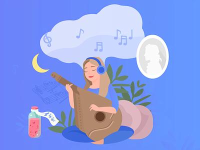 Music therapy music bandura illustrations art girl illustrator picture design vector illustration painting image