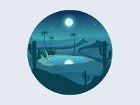 Oasis night cactus illustrator stars icon moon desert night oasis