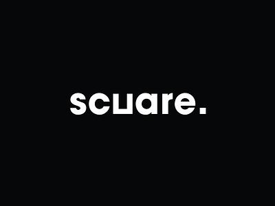Scuare mark symbol typeface minimal simple logo branding adverstising production film square brutal typography logotype