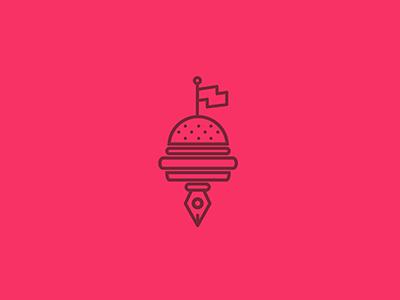 Burgerblog food flag writer web blog write burger logo