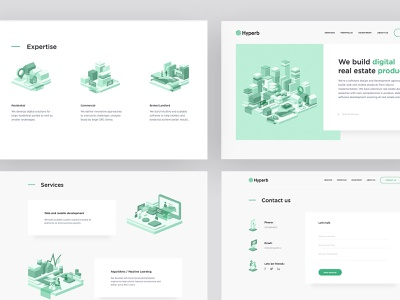 Hyperb ui  ux identity corporate green real estate commercial website web logo