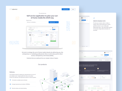 Self service application to plan your out-of-home media web typography branding design call to action vector ui icons illustration landing page