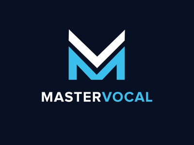 Master Vocal illustration design blue branding logo