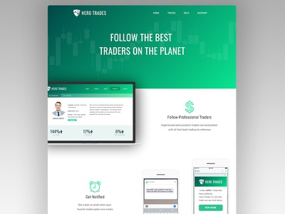 Hero Trades Landing Page (herotrades.com) stock market investing investment finance bitcoin crypto stocks ux sales ui home landing