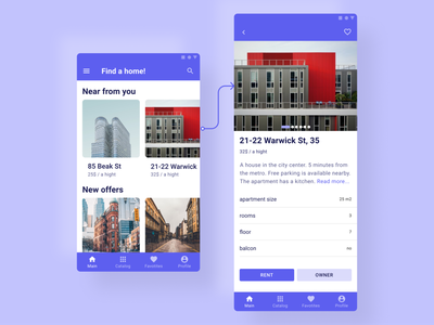 Сoncept of the app for housing rental. Android version home ui mobile design app
