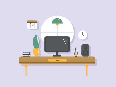 Workplace table freelance flat ilustration vector workplace homework office space office home sound window cup desk laptop computer design workspace