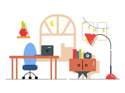 Workspace chair workplace workspace polaroid table stars moon window room vector illustration desk computer flat design
