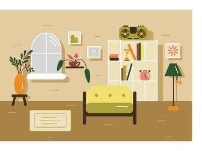 Living room relax picture apartment decor couch sound lamp furniture lounge indoor plant salon home room livingroom window vector illustration flat design