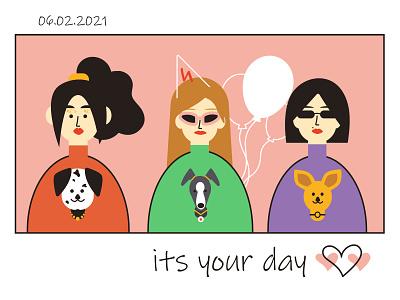 Birthday card characters woman millennials hipster party friendship dog pet girls power feminism girls happy birthday friends birthday postcard art flat vector illustration design