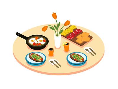Breakfast tasty food illustration eating isometric illustration isometric isometry morning avocado avocado toast eggs table food breakfast vector design
