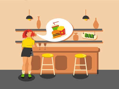 Girl in bar dream dreaming thinking mcdonalds girl in bar woman girl hungry drinking eating want burger alcohol bar fastfood female illustration vector design