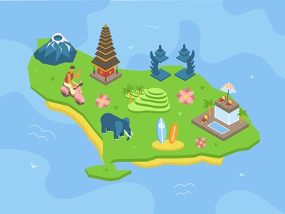 Bali island tourism isolated thailand architecture indonesia water travel traditional culture nature asia asian island bali isometry isometric illustration vector design