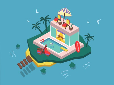 Villa in Bali isometric style relax house swimming sea beach isolated surfing isometric isometry tourism tour travel asian asia balinese villa bali illustration vector design
