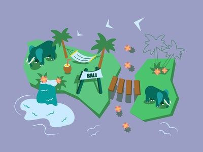Wild park isometric palmtree summer waterfall sea tourism afrika animal wild wildlife elephant bridge asia bali park isometry isometric asian illustration vector design
