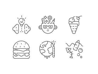 Icons set logo flat logotype outline line icon ocean pollution global warming creative creativity brainstorm burger icecream icons set icons vector design