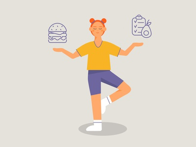 Balance relax icon girl yoga home sport diet burger icons balance female woman illustration vector design