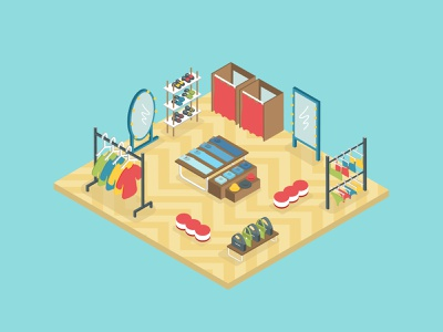 Clothes shop center sale market boutique shopping buy mall casual indoor vintage style store shop interior fashion 3d isometric design illustration vector