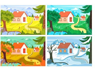 Four seasons outdoor cartoon collection lake landscape flat farm garden wildlife wild nature spring winter autumn summer weather season illustration vector