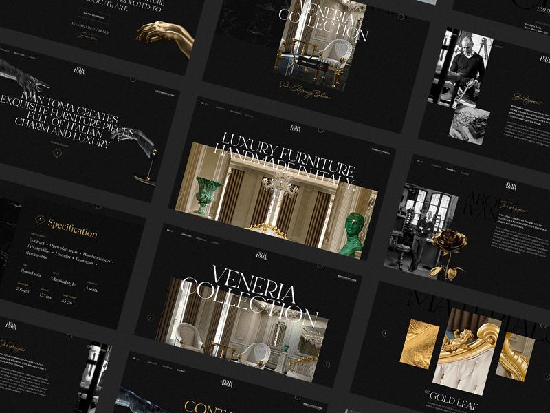 Ivan Toma Screens furniture italian dark black typography minimal landing page interaction animation interface web website web design