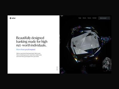 Letter 💎 credit card card bank banking render cinema 4d c4d cgi motion design ui design 3d design webgl 3d clean animation interface ux web website web design
