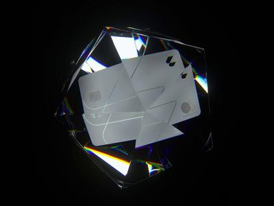 Letter Card 💎 3d animation 3d design 3d loop glass fintech bank card reflection refraction octane render octane cinema 4d render c4d