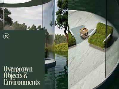 Overgrown Renders 🌳 animator motion animation nature octane render octane cgi 3d designer typography 3d design 3d art 3d cinema 4d render c4d