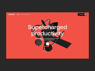 Superlist ⚡ interactive 3d app web designer webgl landing page ux interaction clean interface animation ui web website web design