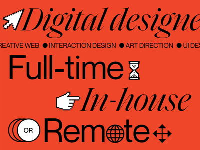 We're hiring – Digital Designer web designer motion designer motion design animation digital designer hiring job