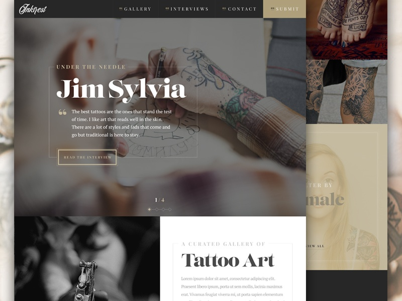 Inktrest Landing Page web website web design ui ux tattoo fashion header serif interface vintage