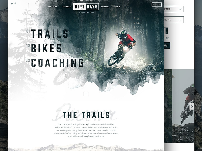 Dirtdays Website Concept web website web design ui bikes cycling mtb whistler logo branding one page interface