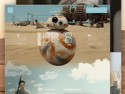 Star Wars BB-8 Droid Guide typography clean concept droid bb-8 star wars web web site web design website ux ui
