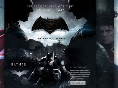 Batman vs Superman Concept superheroes textured dark film concept superman batman ux ui web design website web