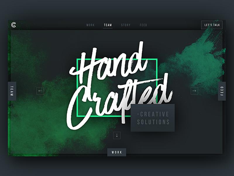 Green Chameleon Unused Home Screen explosion powder dark concept landing page homepage ux ui web design website web