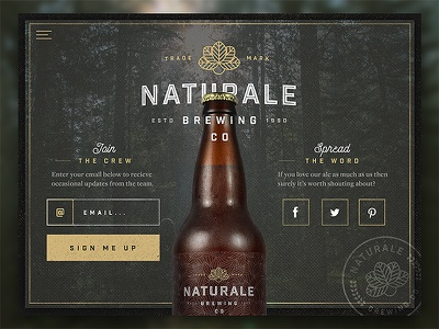 Naturale Brewing Co. Landing Page brewery nature textured craft ale beer ux ui web design website web