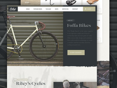 Riley's Cycles Website 2016 texture homepage branding product shop ecommerce bikes cycling ux ui web design website