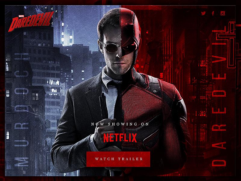 Daredevil Landing Page Concept superheroes textured dark film concept marvel daredevil ux ui web design website web