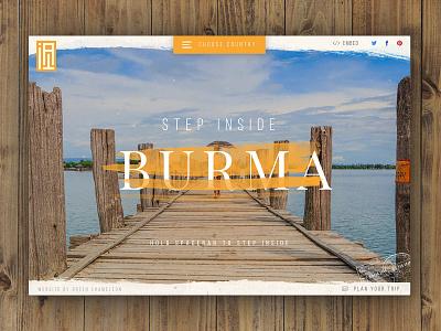 Step Inside Burma Live! texture travel burma concept landing page homepage ux ui web design website web