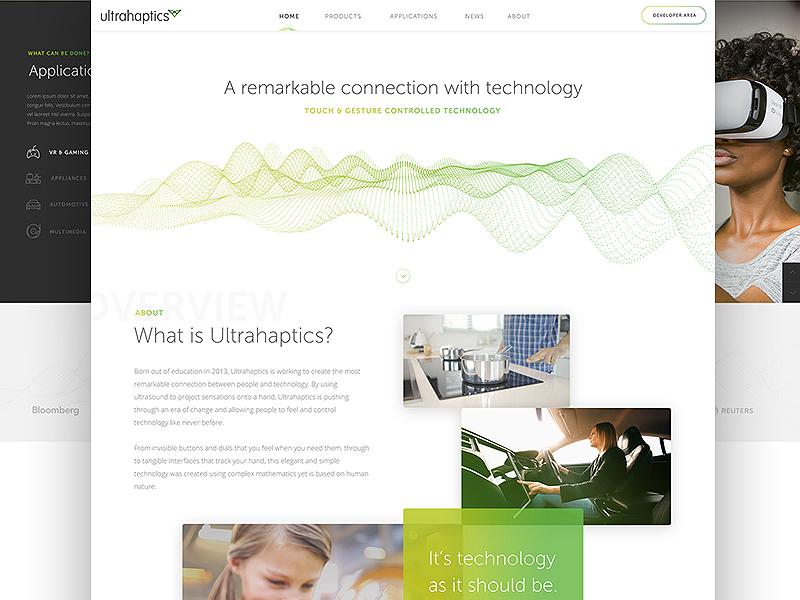 Ultrahaptics Landing Page gradients clean tech concept landing page homepage ux ui web design website web