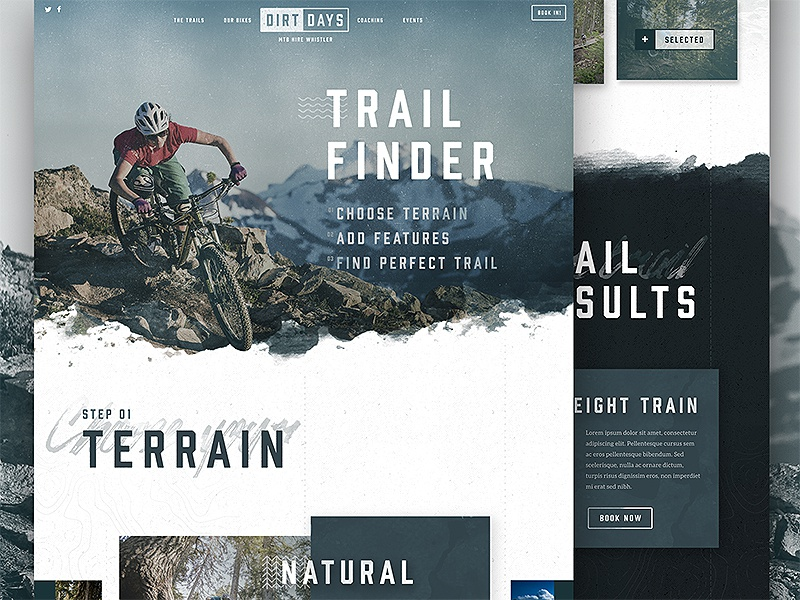Dirtdays Trail Finder Concept whistler website web design web ui one page mtb logo interface cycling branding bikes