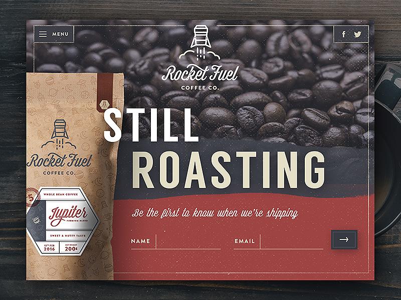 Rocketfuel Landing Page daily ui ux ui texture web website web design brand branding coffee landing page