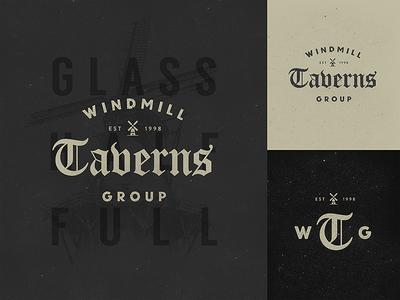 Windmill Taverns Group Unused Branding branding brand logo identity vintage rustic lettering blackletter old english texture
