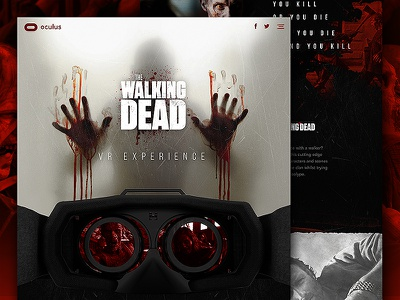 The Walking Dead VR Experience ux ui vr oculus mock up textured halloween the walking dead mocktober web design website web