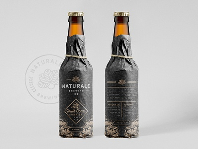 Naturale Brewing Co. Bottle Wrap product design packaging mock up logo bottle brewing brewery branding brand identity brand beer ale