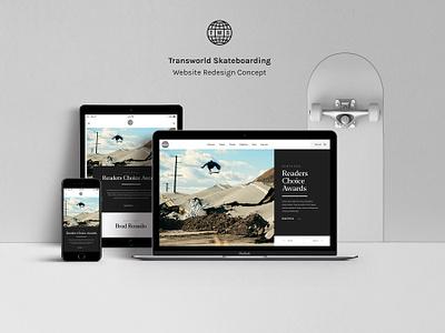 Transworld Skateboarding Redesign Concept (Free PSD) makeitbetter web design website web minimal skateboarding interface ui magazine gallery skateboard clean