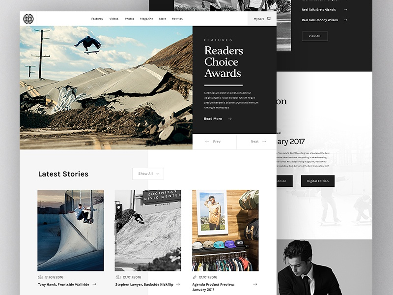 Transworld Skateboarding Redesign Concept (Free PSD) makeitbetter web design website web minimal skateboarding interface ui magazine gallery skateboard clean