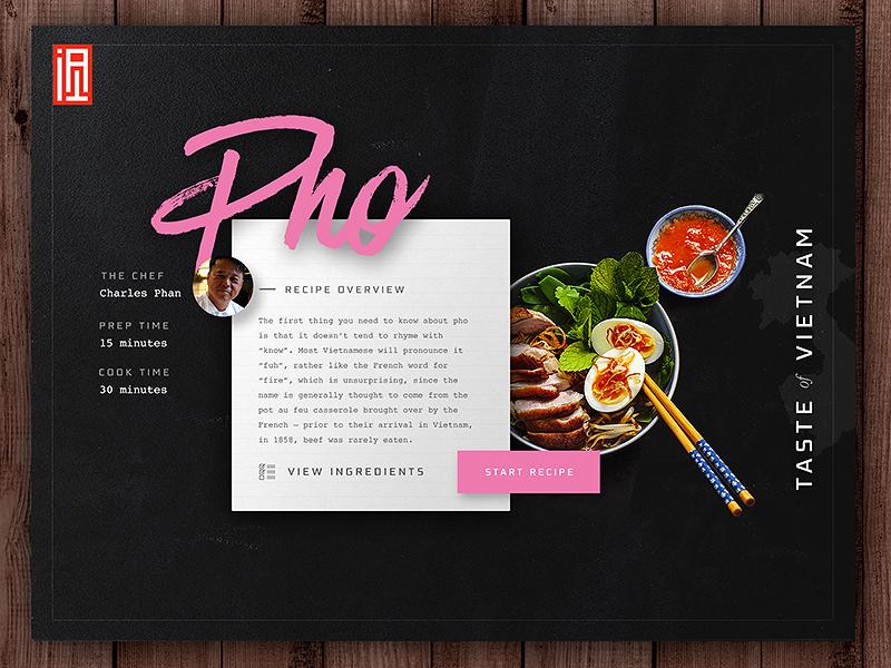 Pho Recipe Tile web website web design ui ux recipe clean daily ui food script typography branding