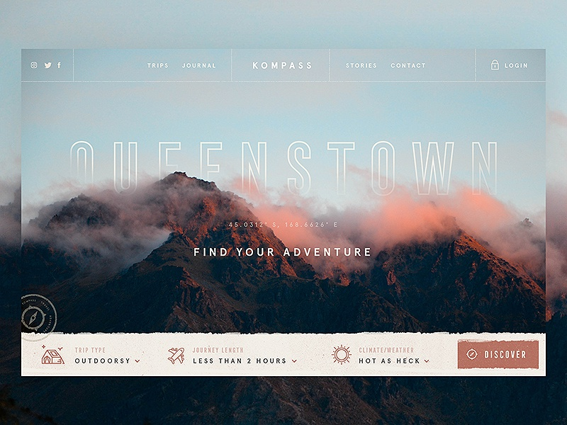 Adventure Search / Day 05 web design texture website header mountains adventure trip travel compass ui ux branding
